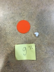Orange Chip, White Pony Bead Heart, and Sticky note visual of a lower case g and %